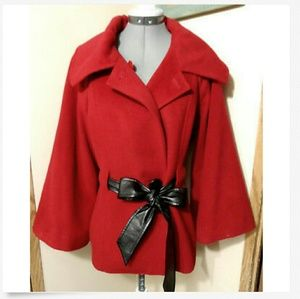 1 MADISON Wool Peacoat L Red winter parka jacket